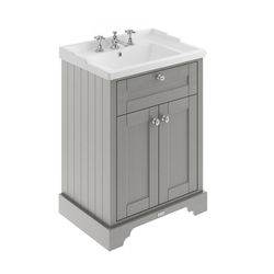 Old London Furniture Vanity Unit With Basins 600mm (Storm Grey, 3TH).