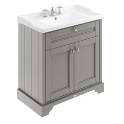 Old London Furniture Vanity Unit With Basins 800mm (Grey, 3TH).