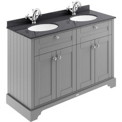 Old London Furniture Vanity Unit With 2 Basins & Black Marble (Grey, 1TH).