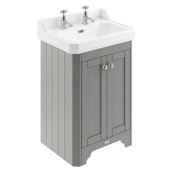 Old London Furniture Vanity Unit With Basins 595mm (Grey, 2TH).