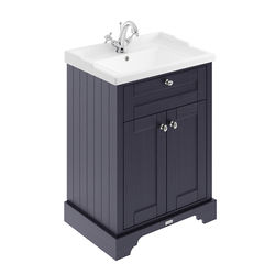 Old London Furniture Vanity Unit With Basins 600mm (Twilight Blue, 1TH).