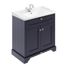 Old London Furniture Vanity Unit With Basins 800mm (Blue, 1TH).