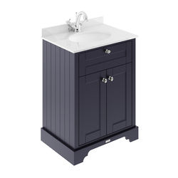 Old London Furniture Vanity Unit, Basin & White Marble 600mm (Blue, 1TH).