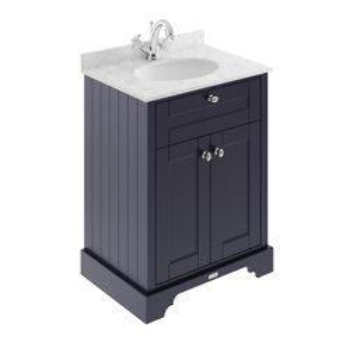 Old London Furniture Vanity Unit, Basin & Grey Marble 600mm (Blue, 1TH).