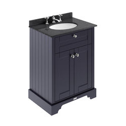 Old London Furniture Vanity Unit, Basin & Black Marble 600mm (Blue, 3TH).