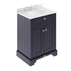 Old London Furniture Vanity Unit, Basin & White Marble 600mm (Blue, 3TH).
