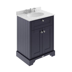 Old London Furniture Vanity Unit, Basin & Grey Marble 600mm (Blue, 3TH).