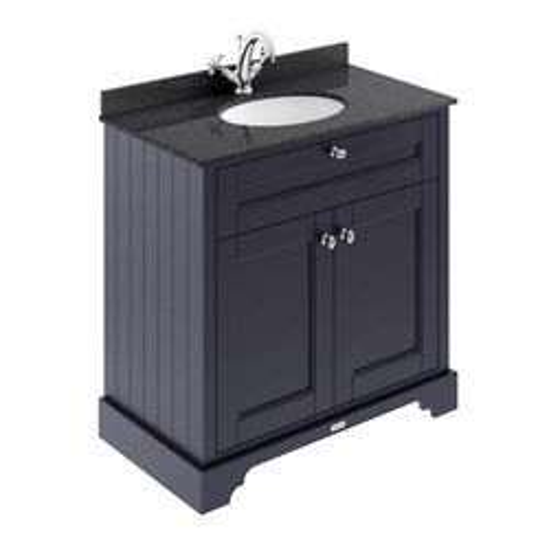 Old London Furniture Vanity Unit, Basin & Black Marble 800mm (Blue, 1TH).