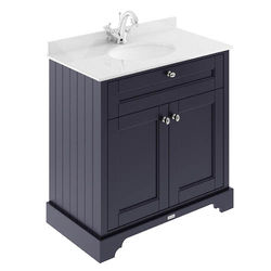 Old London Furniture Vanity Unit, Basin & White Marble 800mm (Blue, 1TH).
