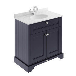 Old London Furniture Vanity Unit, Basin & Grey Marble 800mm (Blue, 1TH).