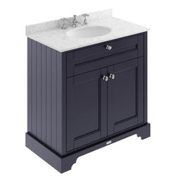 Old London Furniture Vanity Unit, Basin & Grey Marble 800mm (Blue, 3TH).