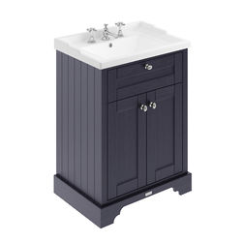 Old London Furniture Vanity Unit With Basins 600mm (Twilight Blue, 3TH).