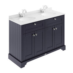 Old London Furniture Vanity Unit With 2 Basins & White Marble (Blue, 1TH).
