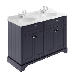 Old London Furniture Vanity Unit With 2 Basins & Grey Marble (Blue, 1TH).