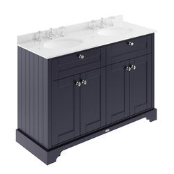 Old London Furniture Vanity Unit With 2 Basins & White Marble (Blue, 3TH).