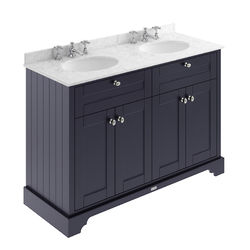 Old London Furniture Vanity Unit With 2 Basins & Grey Marble (Blue, 3TH).