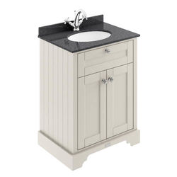 Old London Furniture Vanity Unit, Basin & Black Marble 600mm (Sand, 1TH).