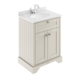 Old London Furniture Vanity Unit, Basin & White Marble 600mm (Sand, 1TH).