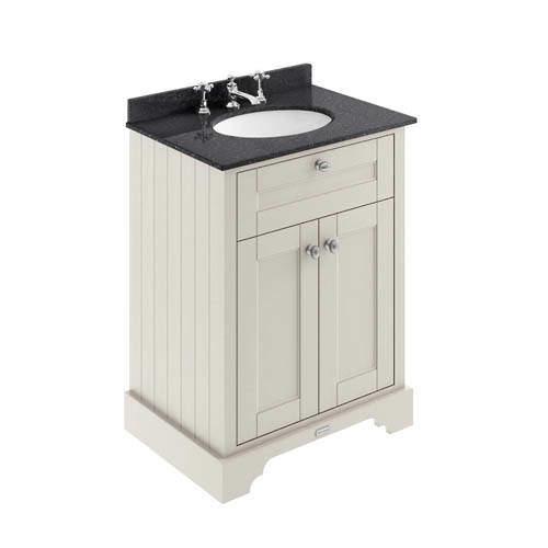 Old London Furniture Vanity Unit, Basin & Black Marble 600mm (Sand, 3TH).