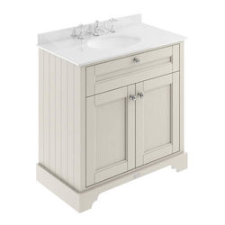 Old London Furniture Vanity Unit, Basin & White Marble 800mm (Sand, 3TH).