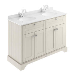 Old London Furniture Vanity Unit With 2 Basins & White Marble (Sand, 1TH).