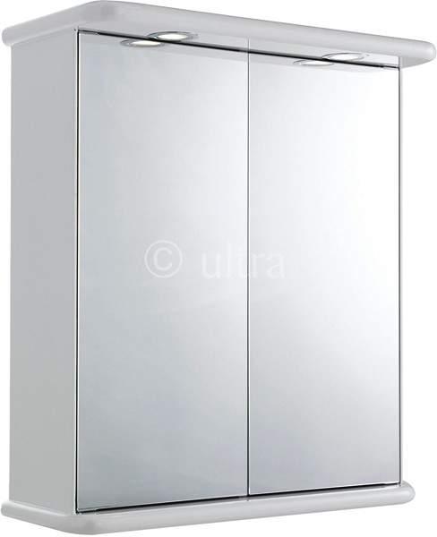 Ultra Cabinets Niche 2 Door Mirror Cabinet, Lights & Shaver. 620x705x200mm.
