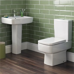 Ultra Mercury Short Projection Toilet, 600mm Basin, Full Pedestal & Seat.