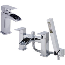 Nuie Moat Waterfall Basin & Bath Shower Mixer Tap Pack (Chrome).