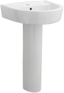 Premier Ceramics Basin & Full Pedestal (1 Tap Hole, 520mm).