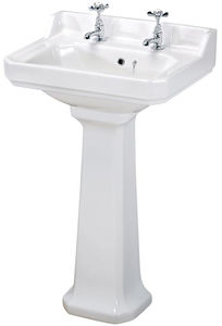 Premier Carlton Traditional 500mm Basin & Pedestal (2 Tap Hole).