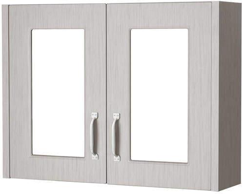 Old London York 2 Door Mirror Bathroom Cabinet 800mm (Grey).