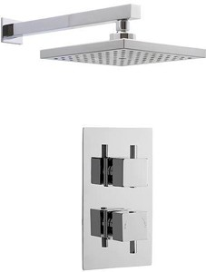 Premier Showers Twin Thermostatic Shower Valve & Square Head (Chrome).
