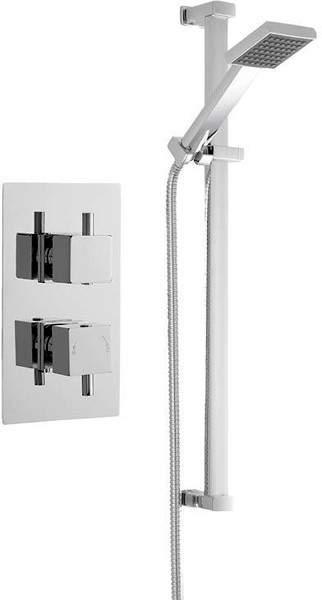 Premier Showers Twin Thermostatic Shower Valve & Slide Rail Kit (Chrome).