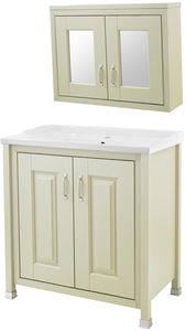 Old London Furniture 800mm Vanity & Mirror Cabinet Pack (Pistachio).