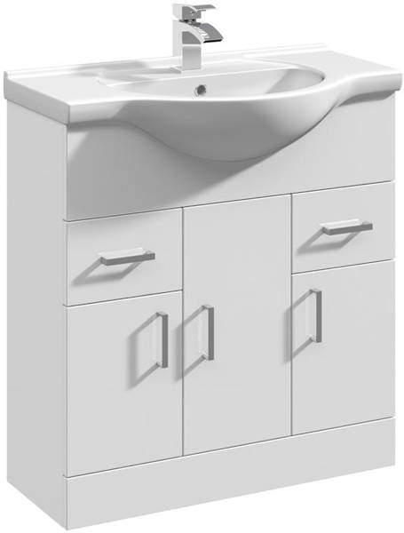 Italia Furniture Vanity Unit & Ceramic Basin Type 1 (755mm, White).
