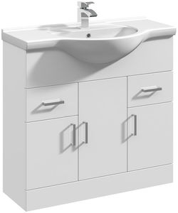 Italia Furniture Vanity Unit & Ceramic Basin Type 1 (855mm, White).