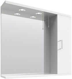 Italia Furniture Vanity Mirror With Cabinet & Lights (850x750mm, White).