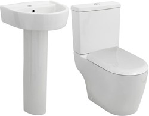 Premier Ceramics Toilet With Luxury Seat, 420mm Basin & Pedestal.