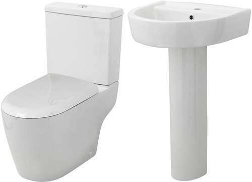 Premier Ceramics Toilet With Luxury Seat, 520mm Basin & Pedestal.