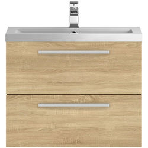 Hudson Reed Quartet Wall Vanity Unit & Basin 720mm (Natural Oak).
