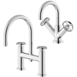 HR Revolution Basin & Bath Filler Tap With Industrial Handles (Chrome).