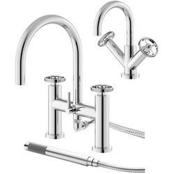 HR Revolution Basin & Bath Shower Mixer Tap With Industrial Handles (Chrome).
