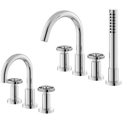 HR Revolution 3 Hole Basin & 4 Hole Bath Shower Mixer Tap (Industrial).