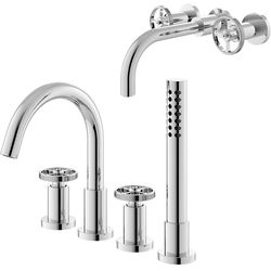 HR Revolution Wall Basin & 4 Hole Bath Shower Mixer Tap (Industrial).