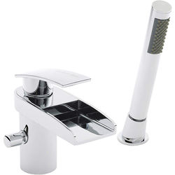 Hudson Reed Rhyme 2 Hole Waterfall Bath Shower Mixer Tap (Free Shower Kit).