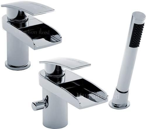 Hudson Reed Rhyme Waterfall Basin & Bath Shower Mixer Tap Set.