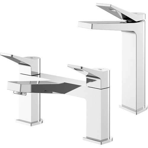 HR Soar Tall Basin & Bath Filler Tap Pack (Chrome).