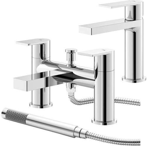 HR Sottile Mono Basin & Bath Shower Mixer Tap Pack (Chrome).