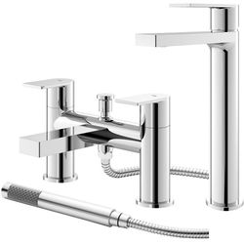 HR Sottile Tall Basin & Bath Shower Mixer Tap Pack (Chrome).