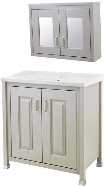 Old London Furniture 800mm Vanity & Mirror Cabinet Pack (Stone Grey).